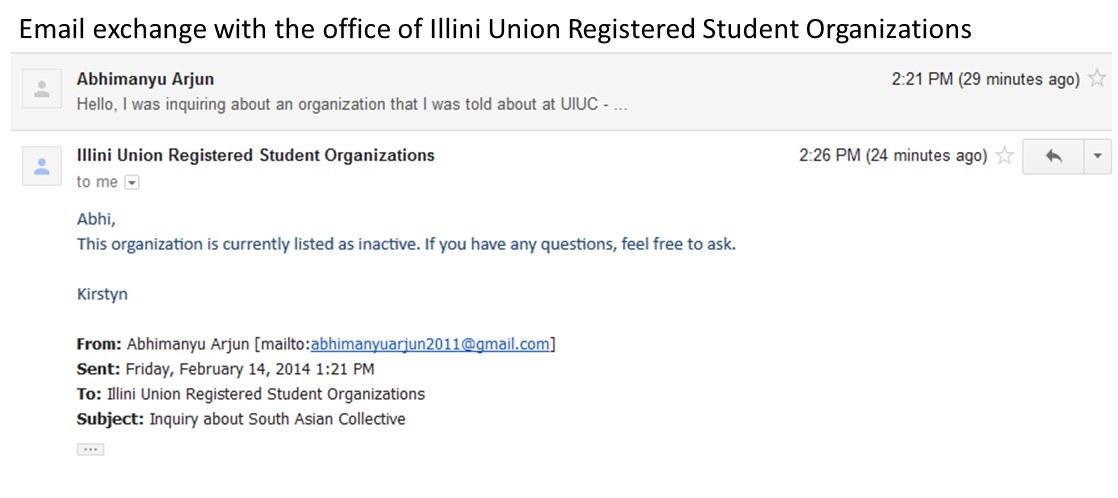 SAC Email Exchange with Office of UIUC